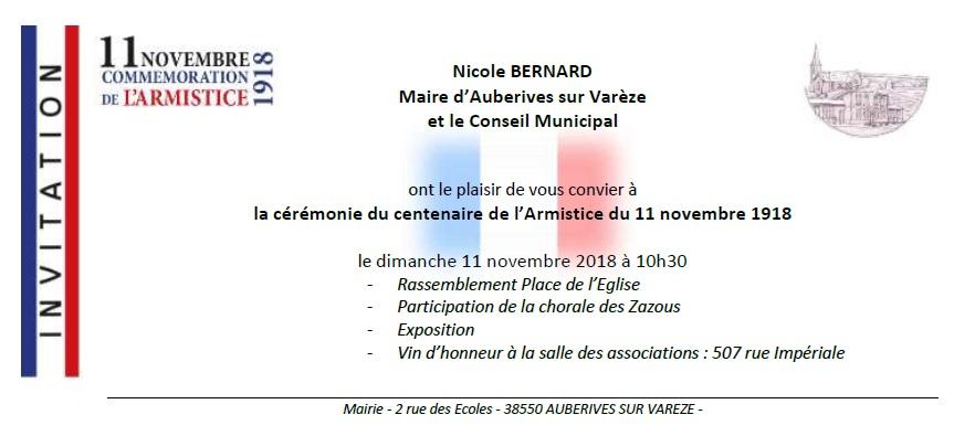 Cérémonie du centenaire de l'Armistice du 11 novembre 1918 @ Place de l'Eglise
